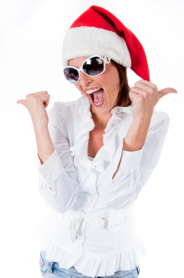 female w Santa Hat and thumbs up